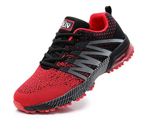 Azooken Herren Damen Sportschuhe Laufschuhe Turnschuhe Sneakers Leichte Fitness Mesh Air Sneaker Straßenlaufschuhe Outdoor(8995 Red44)