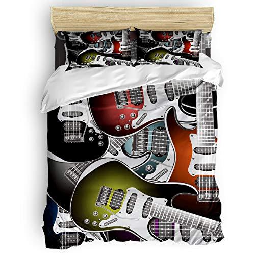 Full Size, 4 Pieces Bed Sheets Set, Cool Kinds of Guitar 3D Print Floral Duvet Cover Set
