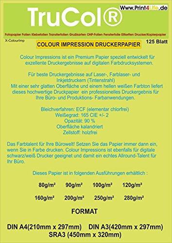 125 Blatt Din A3 160g /m² Premium Papier FARB-Laser, Kopierer, Tintenstrahldrucker, Inkjet, Offset Preprint, Digitaldruckpapier weiß matt, Kopierpapier