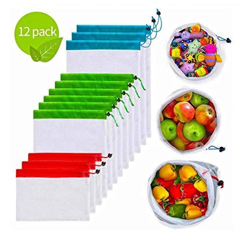 Edeco Bolsas de Productos Reutilizables con Cordones, Bolsas de Malla livianas Lavables y Transparentes para Frutas, Verduras, Juguetes, Almacenamiento de comestibles, 12 Piezas