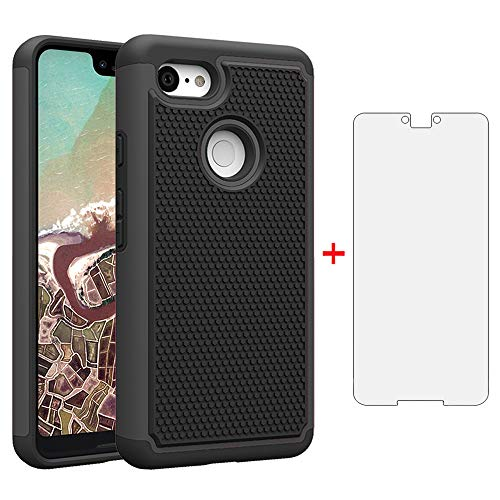 Phone Case for Google Pixel 3 XL with Tempered Glass Screen Protector Cover Flim and Cell Accessories Slim Rugged Silicone Hard Hybrid Protective Pixel3XL Pixel3 LX Pixle 3XL Cases Women Men Black