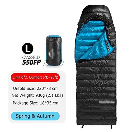 Sleepingbgs Sport im Freien Ultralight 4 Saison-Platz Gänsedaunen Backpacking Schlafsack Kaltes Wetter wasserdichte Camping-Schlafsack (Color : 550FP Black L)