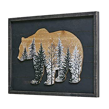 NIKKY HOME Cabin Bear Decor Rustic Wooden Forest Mountain Woodland Wildlife Lodge Animal Picture Wall Art Bathroom Decor 12 x 16 Inches