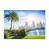 Tulup Cuadro en Acryl - 100x70cm - Mural Art Deco Wall plástico Vidrio Acrílico Cuadro Pintura Acrílica - Los espectáculos y la Arquitectura - Multicolor - Miami Estados Unidos