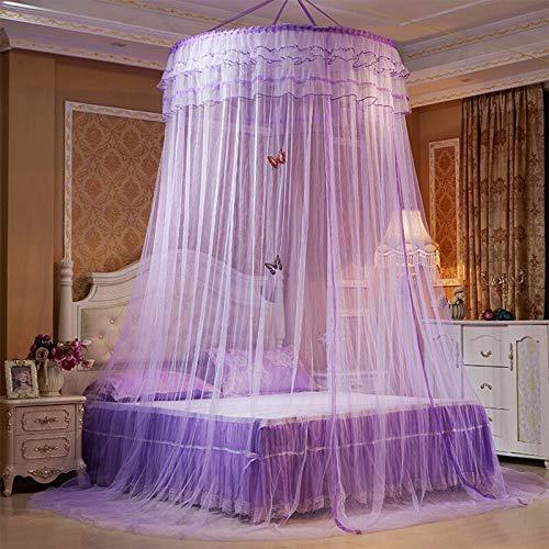 Mosquitera domo con decoración de mariposas Dormitorio con dosel de cama de encaje elegante Cortinas de cortina de cama de aro redondo para cama doble, cama de matrimonio, camas para niños,Púrpura