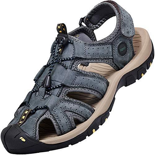 Lvptsh Sandali Sportivi Uomo Cuoio Sandali Trekking Sandali Estivi Chiusi Sandali da Mare All'aperto Spiaggia Pescatore Antiscivolo,Blue1,EU44