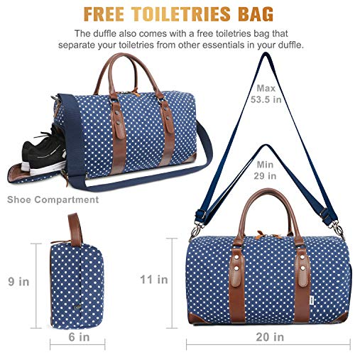Oflamn Duffle Bag Canvas Leather Weekender Overnight Travel Carry On Tote Bag with Shoe Compartment and Toiletry Bag (Blue White Dots) Michigan