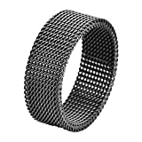 Geoffrey Beene Stainless Steel Men's Comfort Fit Mesh Ring, Black