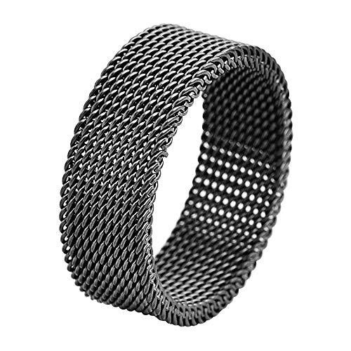Geoffrey Beene Stainless Steel Men's Comfort Fit Mesh Ring, Black