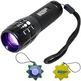 HQRP Profesional Linterna 3W UV Ultravioleta 390 nM Antorcha lámpara con Zoom / cambio de enfoque más HQRP Medidor del sol