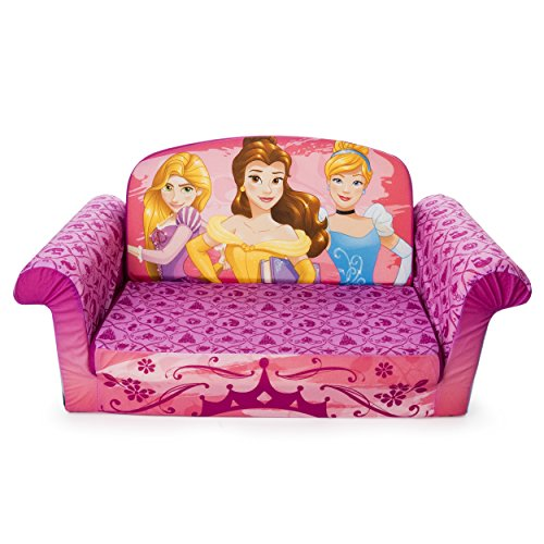 Marshmallow Furniture 2-in-1 Flip Open Couch Bed Sleeper Sofa Kid's Furniture for Ages 2 Years Old and Up, Disney Princesses