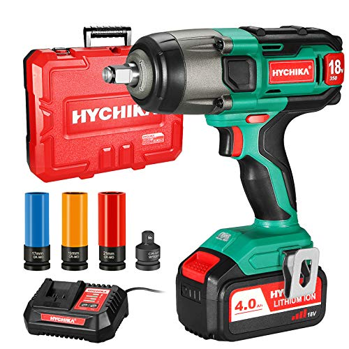 Impact Wrench, 18V 4.0Ah Battery, HYCHIKA Cordless Impact Driver 350Nm, 3000IPM Impact Frequency, 3pcs Sockets for 17/19/21mm, Adapter for 10mm Mandrel and Storage Box for Wheel Bolts Screwdriving