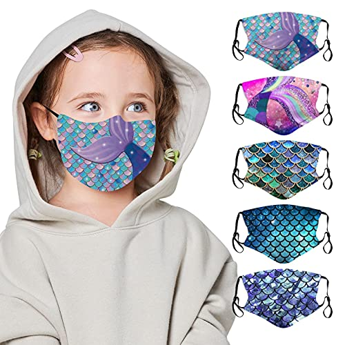 5PCS Face Mask Cloth Washable Reusable Face Cover Adjustable Mouth Bandana Balaclava Mermaid Mask With Filter Paper For Kids Teens