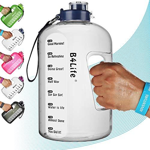 B4Life Botella de agua de 1 galón con marcador de tiempo, pulsera motivadora, entrenamiento de fitness, bebe más agua diaria, botella de agua extra grande sin BPA a prueba de fugas con, color azul