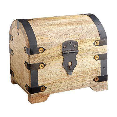 Casa Vivente Große Schatzkiste aus hellem Holz, Schmuckkästchen und Aufbewahrungsbox, Verpackung für Geldgeschenke