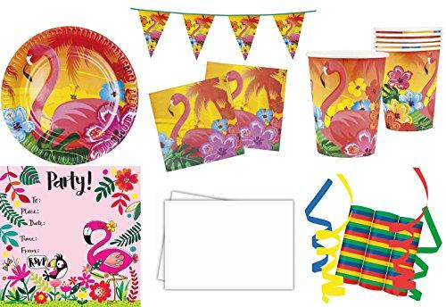 JT-Lizenzen Hibiskus Flamingo 37-teiliges Kinder Geburtstag Party Deko Set Motto Fete Feier 6 Teller,6 Becher, 12 Servietten, Tischdecke, 8 Einladungskarten, 1 Wimpelkette, 3 Rollen Luftschlangen