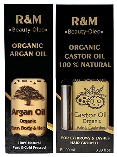 R&M Beauty-Oleo Bio Rizinusöl Set mit Arganöl aus Marokko - Für Haare, Gesicht, Nägel, Wimpern und Lippen - R&M Beauty-Oleo gegen Pickel und Narben (2x100ml)