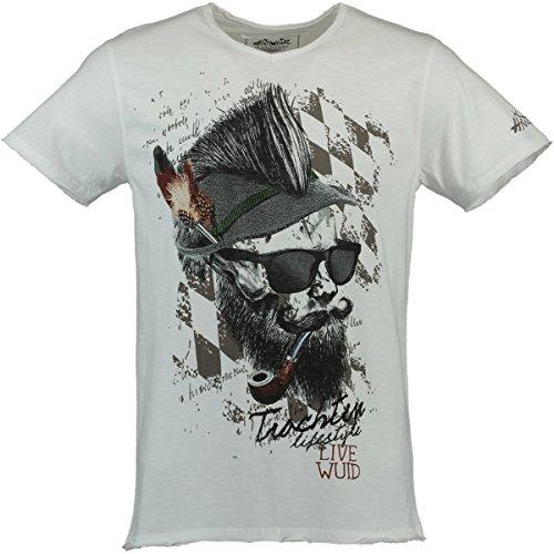 Hangowear Trachten-T-Shirt Franzl Weiss, Gr.XL Herren