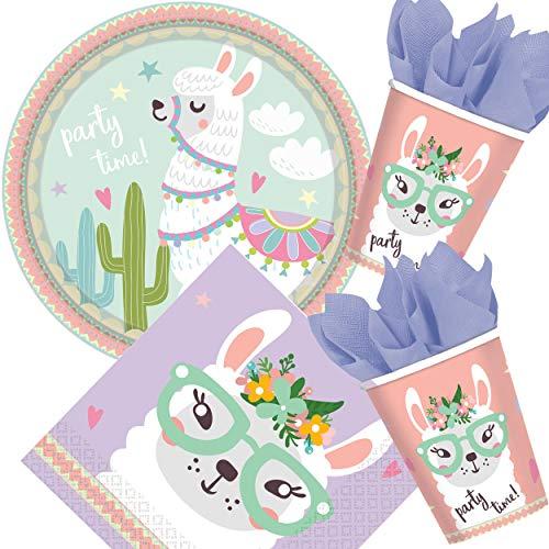 WERNNSAI Set de Vaisselle Lama 146 PCS D/écoration de F/ête Alpaga pour Filles Anniversaire Baby Shower Comprend Sac /à Couverts Assiettes Plaques Nappes Serviettes Pailles Ustensiles