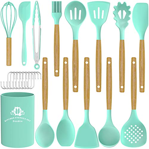 Silicone Cooking Utensils Set, Deedro 15 Pcs Kitchen Utensils Set Silicone Spatula Set, Heat Resistant Kitchen Gadgets Tools Set with Wooden Handle for Non-stick Cookware, Green