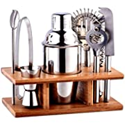 CamKing Cocktail Shaker Bar Set, 8 Stück Edelstahl Bartender Set Eingebauter Rührer, Flaschenöffner, 350ml Shaker, Eiszange, Doppel-Jigger, Korkenzieher, Sieb und Lagerregal