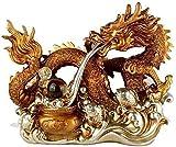 Cinese Feng Shui Dragon Statue Decorazione Resina Prosperità Figurine Sculture Animali Buona Fortuna Ricchezza Home Office Regalo d'Affari