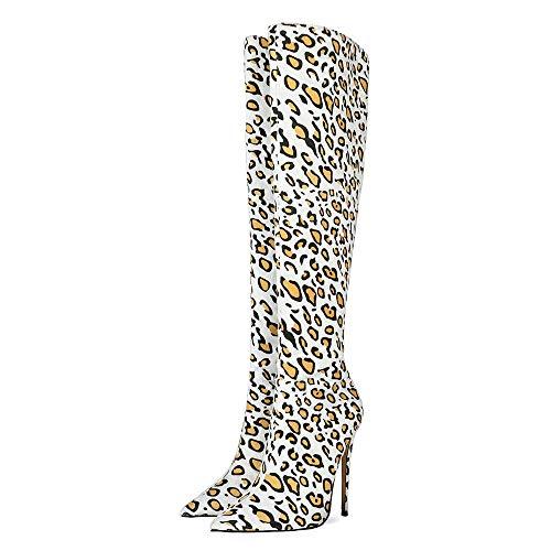 SHEMEE Damen Spitze Kniehohe Stiefel mit 12cm Absatz Stiletto Reißverschluss Knee High Boots Sexy Kniestiefel(Leoparden,42)