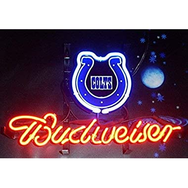 Desung Brand New 20 x16  B udweiser Sports Team I-Colts Neon Sign (Various Sizes) Beer Bar Pub Man Cave Glass Neon Light Lamp BW05