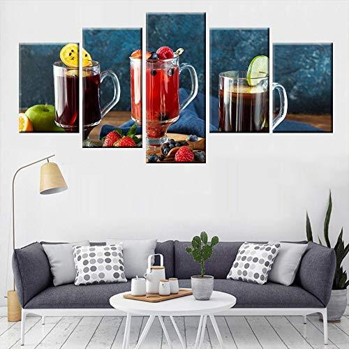 Muurkunst Modular Modern Restaurant Keuken Home Decor 5 stuks fruit eten sap Poster Canvas Print 30x40cmx2 30x60cmx2 30x80cmx1 Met frame.