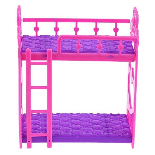 Domybest Mini Giocattolo di Letto a Castello per Bambole Giocattolo Carino di Plastica per Bambine