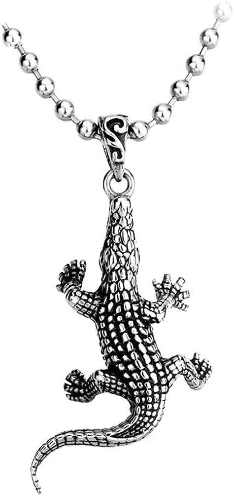 PAMTIER Men's Stainless Steel Vintage Punk Cute Crocodile Charm Pendant Necklaces