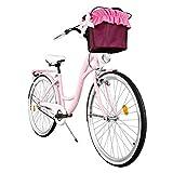 Milord. Komfort Fahrrad mit Rückenträger, Hollandrad, Damenfahrrad, 3-Gang, Rosa, 26 Zoll