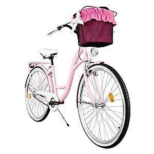 Milord Bikes Cómoda Bicicleta de Ciudad con una Canasta, Bicicleta, 1 Velocidad, Rueda de 26