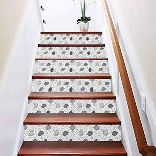 3D Self-Adhesive Stairs Risers Stickers, Abstract Umbrellas Pattern in Rain Greyscale Illustration o, for Stair Riser Decals Home Decor, W39.3 x H7.08 Inch x6PCS