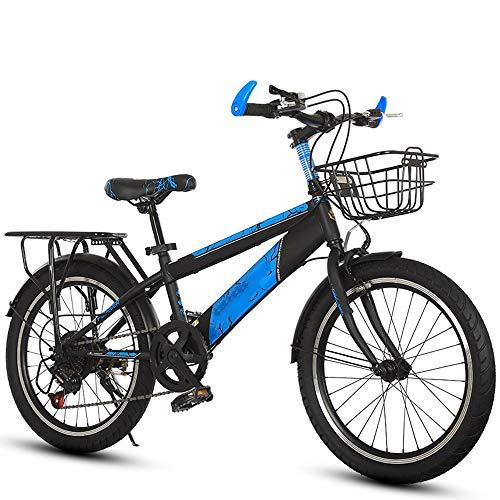 YumEIGE kinderfiets mountainbikes met achterbank, kinderfietsen 18 20 inch, fiets kind 7 versnellingen 5-15 jaar kind blauw, groen, rood