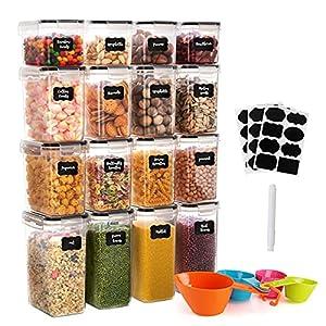 GoMaihe Botes Cocina, Juego de 16 Piezas de Recipiente de Botes Cocina Almacenaje de Plástico de Alimentos Sellados con Tapa, Se Utiliza para Almacenar Cereales Arroz, Harina, Etc