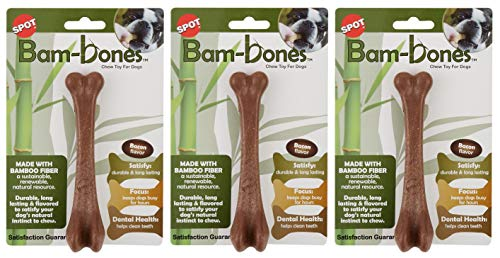 Ethical Pets 3 Pack of Bam-Bone Bone Dog Toys, 5.75 Inch, Bacon Flavor (Misc.)