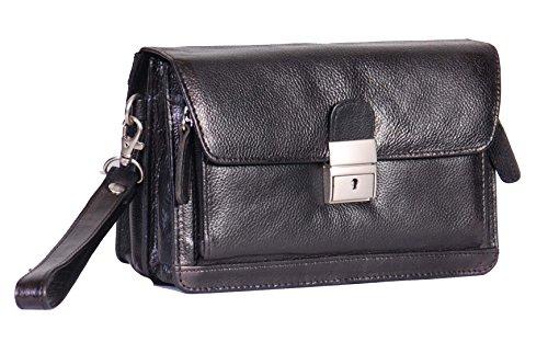 A1 FASHION GOODS Hommes Wrist Sac en cuir véritable Pouch Noir Voyage mobile Carry all Organisateur Pochette Avec verrouillage A853