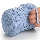 MeriWoolArt Baumwollgarn für Stricken, Makramee, Häkeln, Weben, Geschenkband für Weihnachten - 10 mm Textilgarn, 150 m T-Shirt Garn - Neue Qualität (Babyblau)