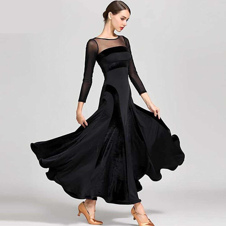 Dance Dresses for Girls Dance Dresses for Women Black ice Silk Velvet Dress Latin Dance Dress SymbolLife Ladies Ballroom Salsa Samba Rumba Tango Rhythm