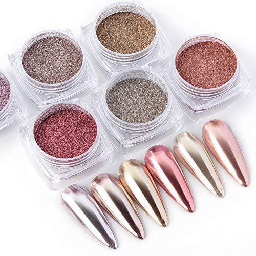 QIMEIYA 6 Boîtes Poudre à Ongles Metallic Pigment Miroir Effect Poussière de Paillettes Poudre chrome pailleté Nail Art