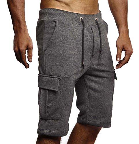 Leif Nelson Herren Männer Jungen Sommer Kurze Biker Jogger 3/4 Hose Shorts Jeanshose Chinos Cargo Bermuda Basic 5-Pocket Sporthose Freizeithose Denim Slim Fit LN8205; X-Large; Anthrazit
