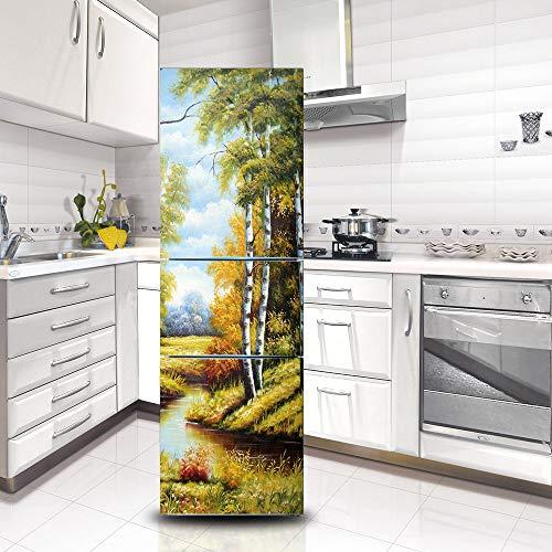 Ruifulex Kühlschrank Aufkleber Selbstklebende Aufkleber, Kühlschrank Tür Aufkleber Professionelle Vinyl Wallpaper Upgrade, Bäume Fluss 60x150cm