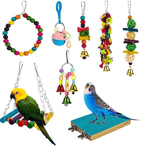 Yorgewd 8 Stück Vogelspielzeug für Papageien, Papagei Spielzeug Käfigspielzeug zum Hängen Schaukeln Hacken Kauen, Sitzstangen für Papageien, Wellensittiche, Finken, Kleinsittiche
