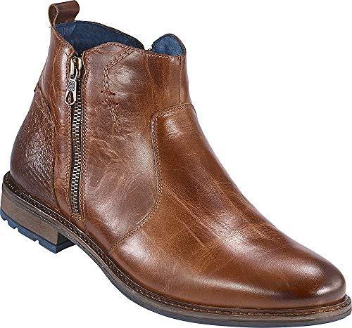 Franco Bettoni Herren Stifelette in Braun, Elegante Lederschuhe in Antik-Optik für Männer, mit seitlichem Zipp-Verschluss, Größe: 40-46