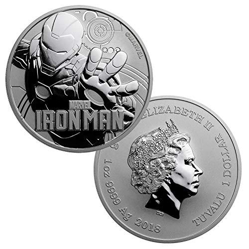 2018 Tuvalu 1 oz .999 Silver Marvel Series Iron Man BU $1 Brilliant Uncirculated