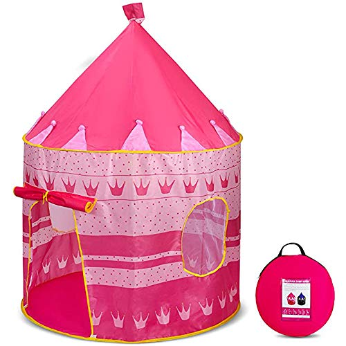 Tienda de Campaña para Niñas con Diseño de Castillo - Tienda de Campaña, Play House, Casa de Juegos, Ideal para Regalo y Juego, Plegable (Rosa)