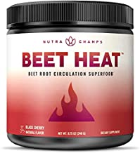 Beet Root Powder Circulation Superfood - Endurance, Energy & Recovery - Nitric Oxide Booster Supplement with Beetroot Juice, Super Reds & Grape Seed Extract - Natural Cherry Flavor, No Sugar