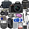 Nikon D3500 DSLR Camera with 18-55mm VR Lens + 64GB Card, Tripod, Flash, 3 Piece Filter Kit, Case, and More from Nikon intl