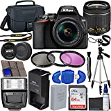 Nikon D3500 DSLR Camera with 18-55mm VR Lens + 64GB Card, Tripod, Flash, 3 Piece Filter Kit, Case, and More